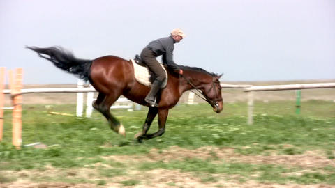 Horseman jamps Stock Video Footage