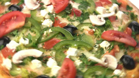 Vegetarian pizza close-up Stock Video Footage