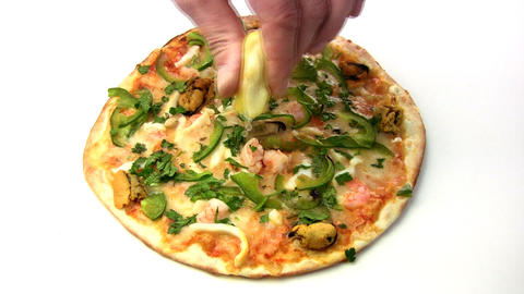 Pizza with seafood Stock Video Footage