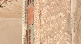Bricklayer  Plastering  Wall  Close  Up stock footage