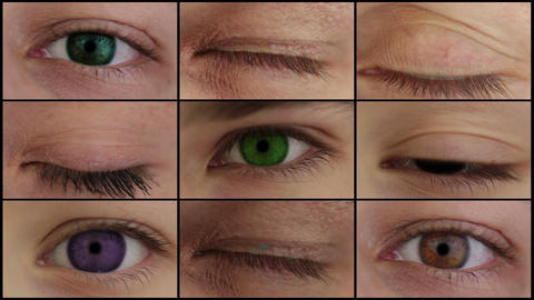 Nine different colored eyes. HD montage Stock Video Footage