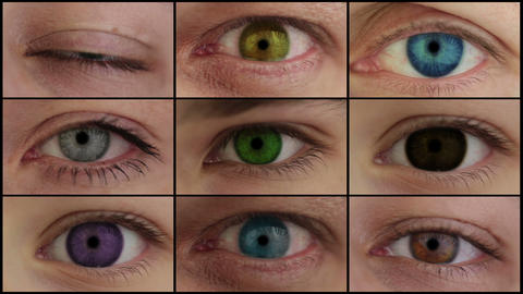 Nine different colored eyes. HD montage Footage