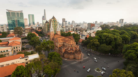 4k - AERIAL TIMELAPSE OF SAIGON CATHEDRAL Stock Video Footage