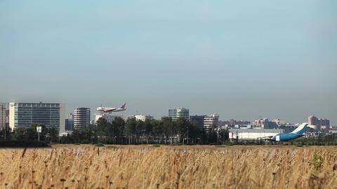 plane lands Stock Video Footage