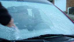 Cold Icy Windshield Stock Video Footage