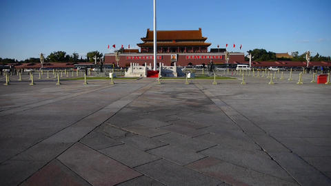 Beijing Tiananmen Square sunny,Bustling broad plaza Street,traffic Footage