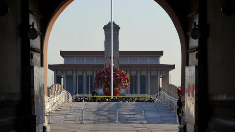 from Beijing Tiananmen arch look timelapse traffic &... Stock Video Footage
