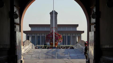 from Beijing Tiananmen arch look timelapse traffic & walking people CG動画