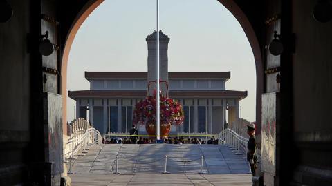 from Beijing Tiananmen arch look timelapse traffic &... Stock Video Footage