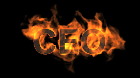 flame CEO word,fire text Animation