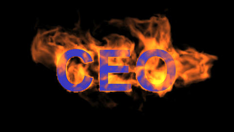 flame blue CEO word,fire text Animation