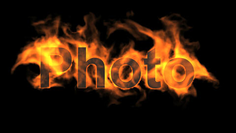 flame photo word,fire text Animation