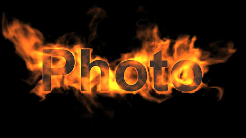 flame photo word,fire text Stock Video Footage