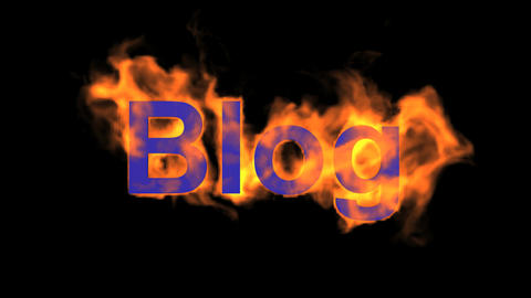 flame blue blog word,fire text Animation