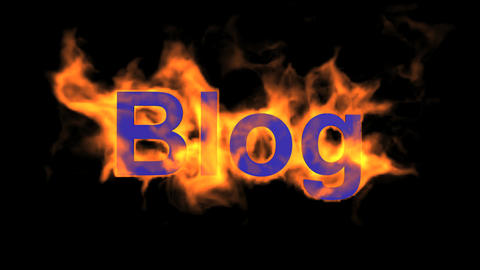 flame blue blog word,fire text Stock Video Footage