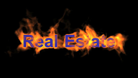 flame real estate word,fire text Stock Video Footage