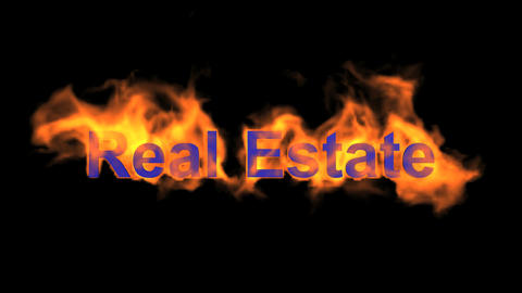 Flame Real Estate Word,fire Text. stock footage