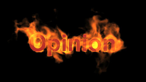 flame opinion word,fire text Animation