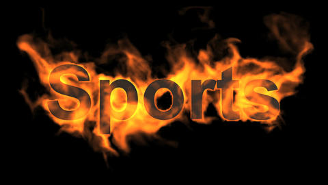 flame sports word,fire text Stock Video Footage