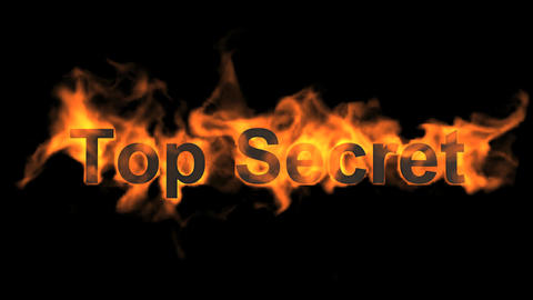 flame top secret,fire text Stock Video Footage