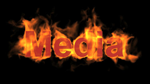 flame media word,fire text Stock Video Footage
