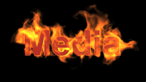 flame media word,fire text Animation