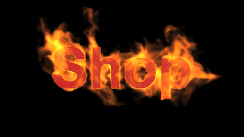 flame shop word,fire text Animation
