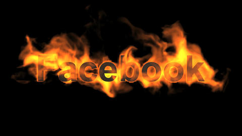 flame facebook word,fire social networking sites text Animation