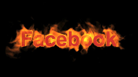 flame facebook word,fire social networking sites text Stock Video Footage