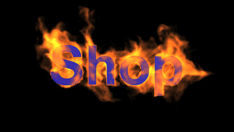 flame blue shop word,fire text Animation