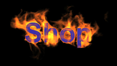 flame blue shop word,fire text Stock Video Footage