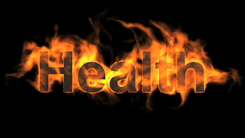 flame health word,fire text Animation