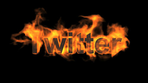 flame twitter word,fire microblogging text Animation