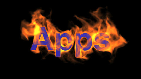 flame blue apps word,fire text Animation