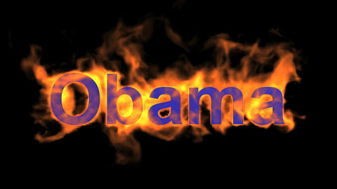 flame blue Obama word,USA president,fire name Stock Video Footage