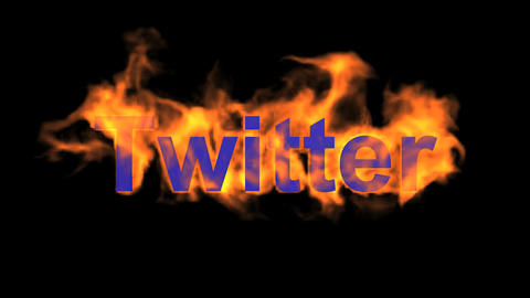 flame blue twitter word,fire microblogging text Animation
