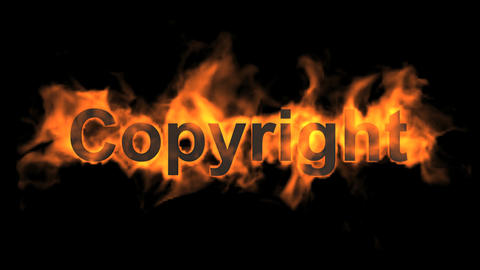 flame copyright word,fire text Stock Video Footage