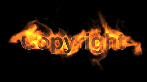 flame copyright word,fire text Animation