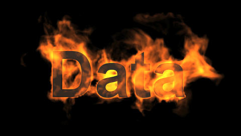 flame data word,fire text Stock Video Footage