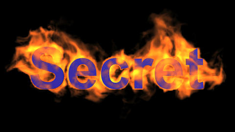 flame blue secret word,fire text Animation