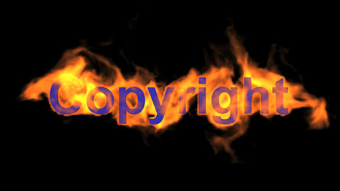 flame blue copyright word,fire text Animation