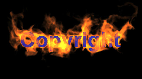 flame blue copyright word,fire text Stock Video Footage