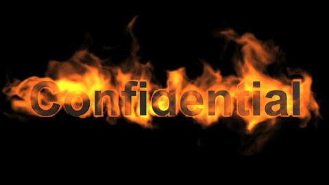 flame confidential word,fire text Animation