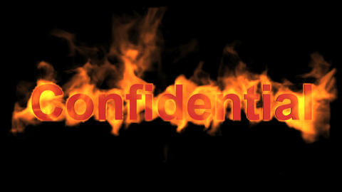 flame confidential word,fire text Stock Video Footage
