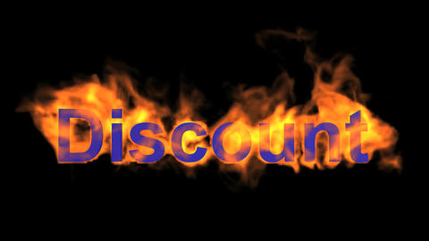 flame blue discount word,fire text Animation