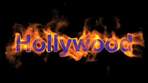 flame hollywood word,fire text Stock Video Footage