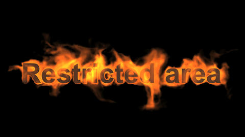 flame restricted area word,fire text Animation