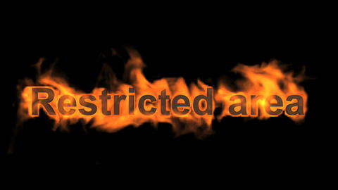 flame restricted area word,fire text Stock Video Footage