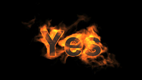flame yes word,fire text Stock Video Footage