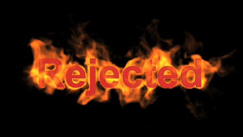 flame rejected word,fire text Stock Video Footage